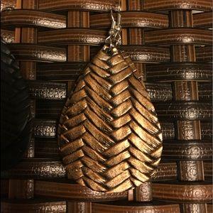 Weave Faux Leather Earrings- Bronze